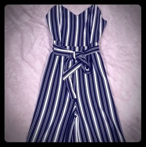 Spaghetti strap belted jumpsuit
